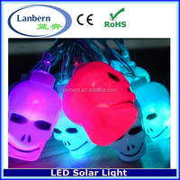 2016 new no extra wire solar powered 10LEDS outdoor Halloween Skull Lantern Decoration String Light