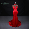 Splendid Chinese evening dress wedding cheongsam dress formal red satin bridal party gown long prom dress with crystals