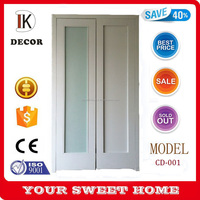 Water based paint finished Glass solid wood closet sliding doors