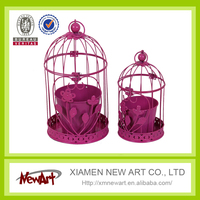 Red color metal bird cage with feeder pot