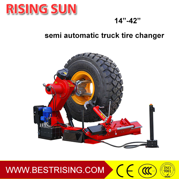 Truck garage used tyre changing equipment