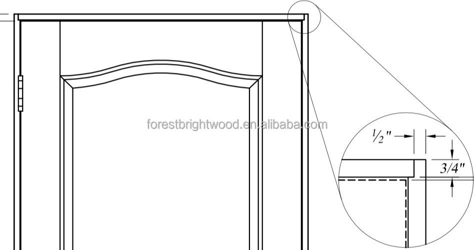 Standard size white pre hung interior swing door view