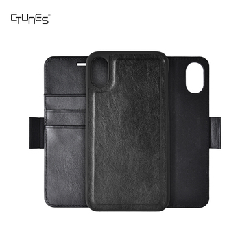 Wallet for iphone Detachable 2 in 1 Leather Folio Flip Back Cover Case With Magnetic Strap for iPhone X