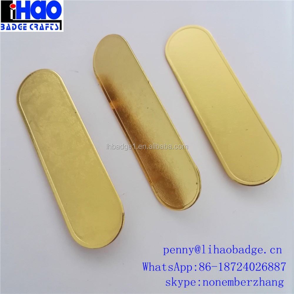 blank plain gold name badge tag plate with safety pin