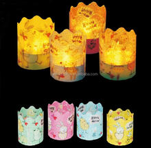Battery Operated Flicking Flameless 6 PCS Pack Easter 1.75 Inch Electronic Led Decro Candle Light