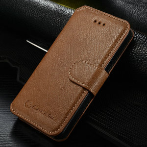 Standable wallet leather case for iphone 5s,free screen protector+free touch pen