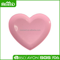 Clear pink color valentines 9inch melamine heart-shaped plate