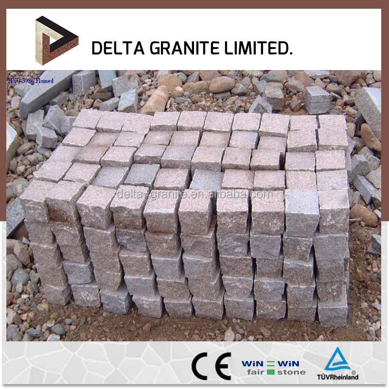 China red cobbles setts and cubes stone, setts for paving stone