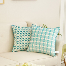 Avigers new design blue fancy outdoor custom printed gometric cushion covers