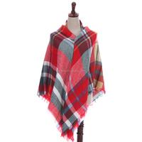 Wholesale Fashionable Sqaure Acrylic Infinity Tartan Blanket Scarf