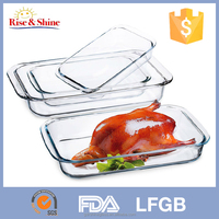 2016 4pcs Eco-Friendly clear rectangular pyrex high borosilicate glass baking dish set, Factory outlet