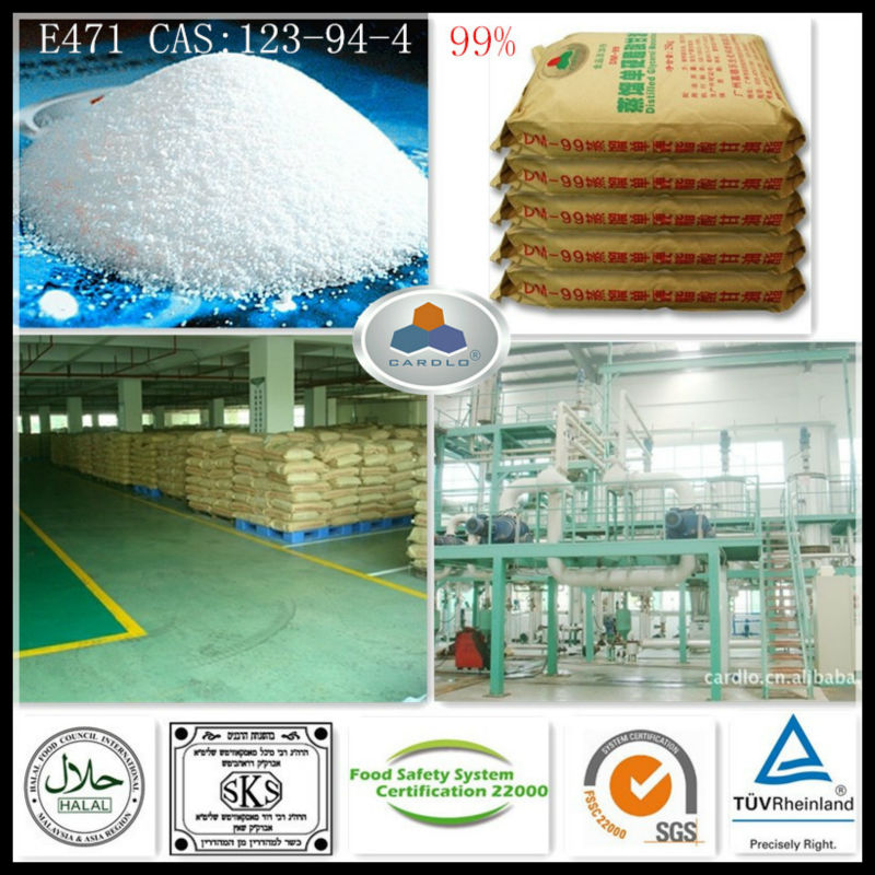 yogurt stabilizer E471 China Large Manufacturer CAS:123-94-4,C21H42O4,HLB:3.6-4.0, 99%GMS