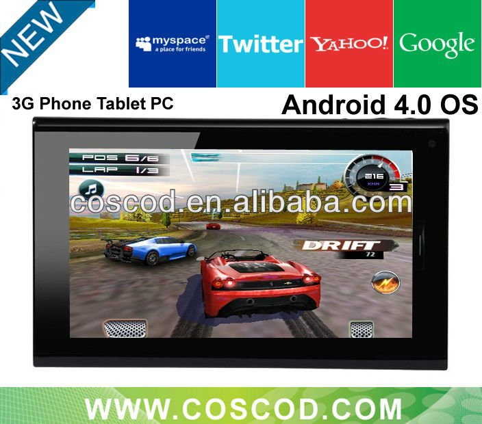 7 inch tab pc with sim card slot Android 4.0 Capacitive Touch Screen 1GB/8GB