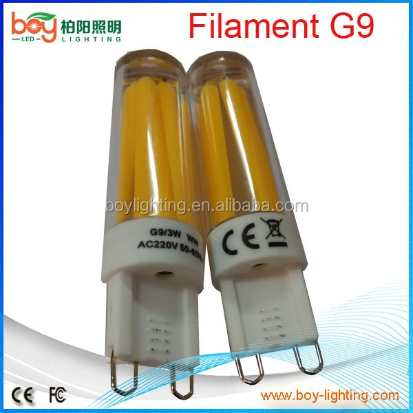 Epistar cob dimmable g9 filament light g9 cob corn bulb 3w dimmer g9 day white