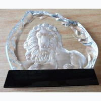 Professional design crystal lion trophy made in China supplier