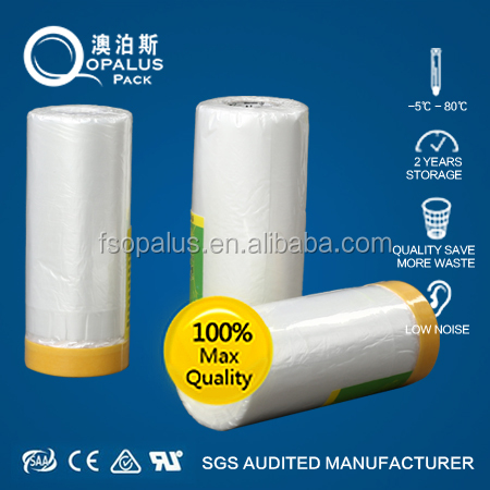 Self Adhesive One Edges Car Body Spraying Pre Taped Masking Film Shanghai Factory