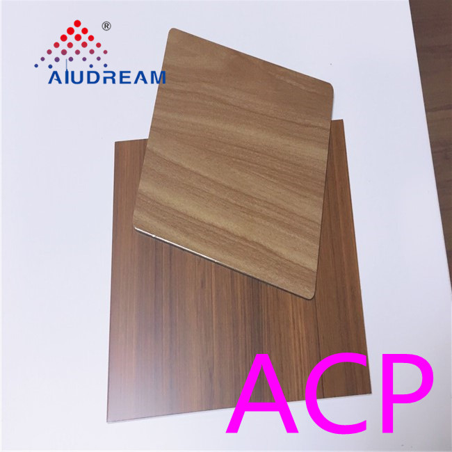 aluminum composite 4mm outdoor wall cladding walnut grain pattern acp