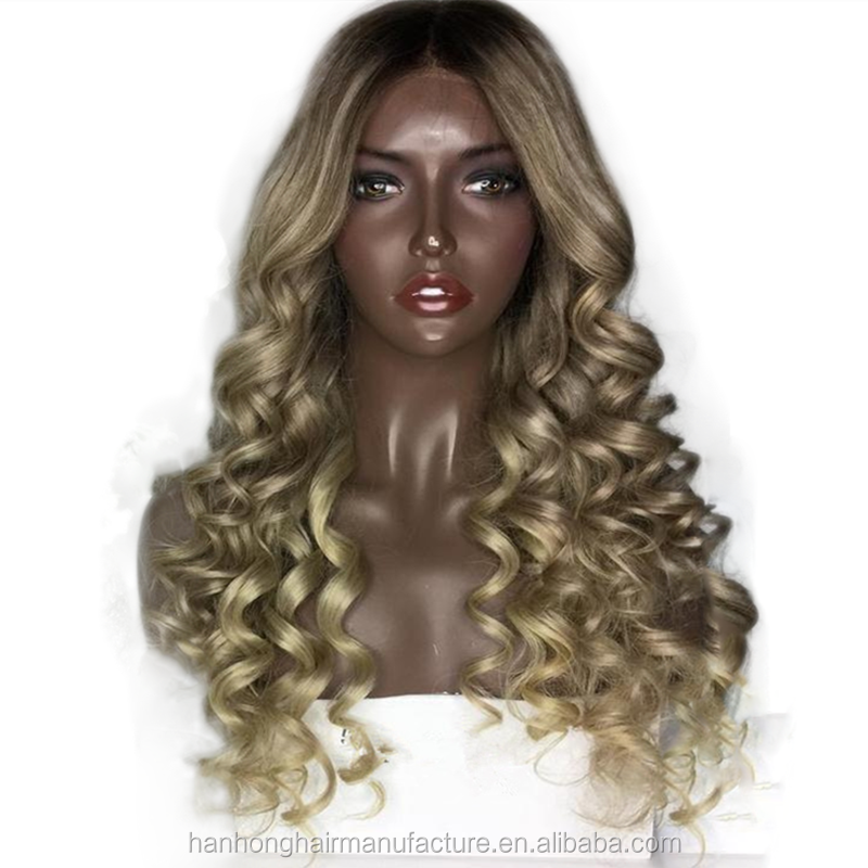 Dark roots human hair lace front wigs hot sale loose curly ash blonde wig