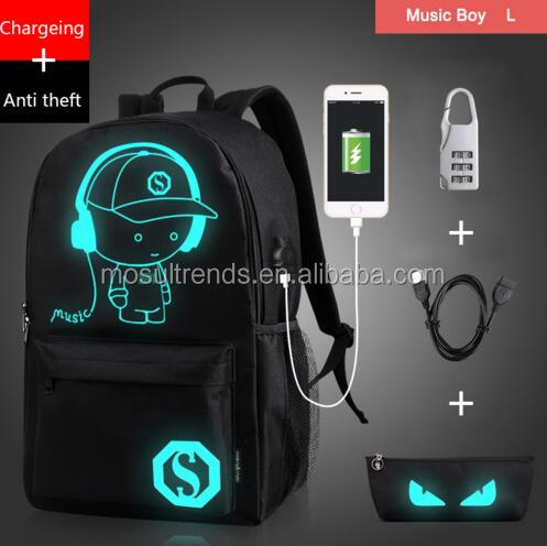 Noctilucent Cartoon anti theft backpack school bag with free USB+Pen Bag+Antitheft Lock
