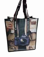 camera printed pp woven handle bags