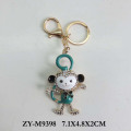 wholesale monkey design zinc alloy Rhinestone keyring for gift