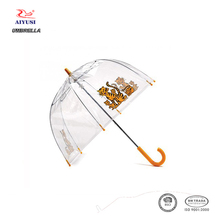 Whoelsae hook plastic handle tiger pattern print clear umbrella for kids