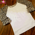 Baby Apparel Icing Ruffle Raglan T-Shirt Children's Boutique Clothing Girls 3/4 Sleeve Leopard Ruffle Raglan Shirt