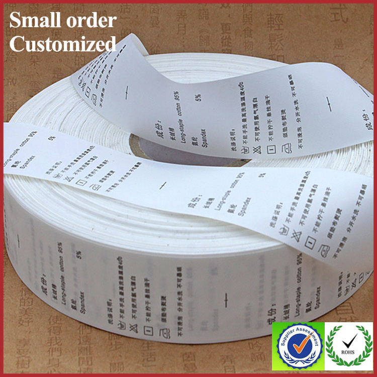 White high quality garment care label paper rolls stock printing label