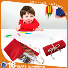 Wholesale OEM foldable canvas roll up pencil bag with rope for stationery set