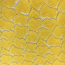 S092 Heart-shaped nylon cotton yellow korean lace fabric for ladies suits lace design