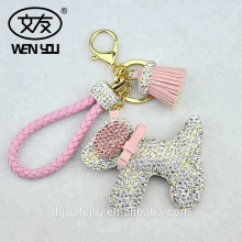 Custom Colorful Crystal Leather Tassel Dog Shape Bag Key Chain Metal Ring Handmade Glass Diamond Keychain With Logo