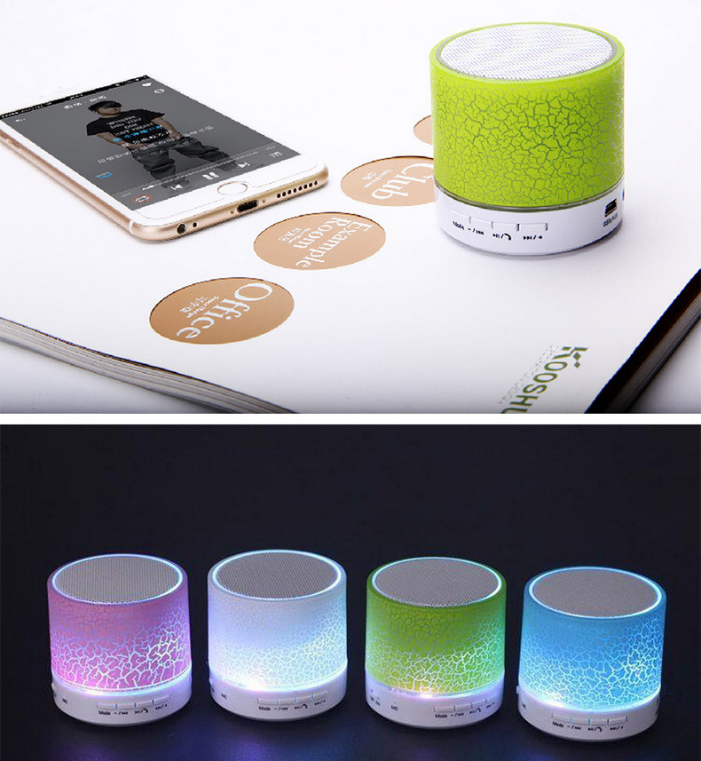 China factory mini music BT speaker with colorful led light