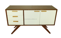 Utility double-door TV cabinet with 3 drawers storage