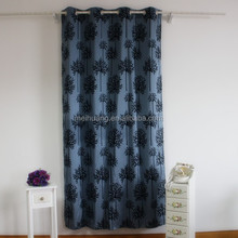 flocked faux silk taffeta curtain
