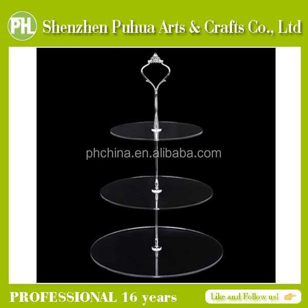 3- Tier Acrylic Cupcake Stand/Perspex Cake Stands/Acrylic Wedding Cake Stand With Steel Support