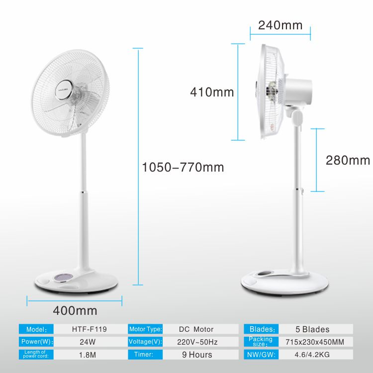 2019 New design Factory selling 14/16 inch dc 24v motor Adjustable Height appliances standing Pedestal remote household fan