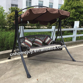 High quality 3 seater rattan swing chair, hanging wicker swing chair
