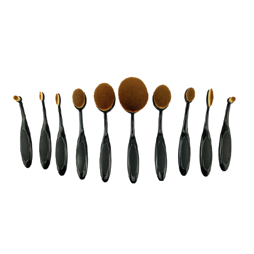 Best Selling Products Cosmetics Makeup Brush Set China Supplier, 10pcs Travel Toothbrush Oval Makeup Brush Free Samples