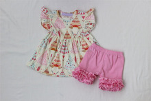 Girls summer tee pee outfits boutique kids happy camping smocks and shorts clothes set