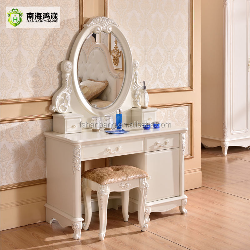 Modern European Pastoral Style White Finish Wooden MDF Bedroom Vanity
