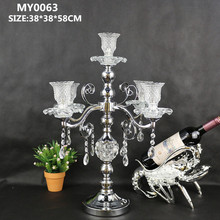Latest party wedding decoration crystal candleabra for wedding table centerpieces