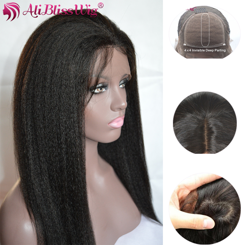 Topper 130% Density 4x4 Inch Realistic Deep Part Kinky Straight Silk Top Lace Front Natural Human Hair Wig for Black Women