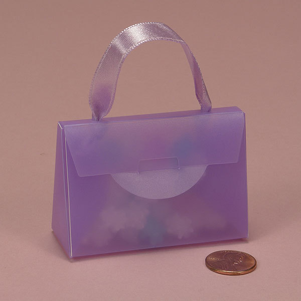 resealable light purple color hard plastic cosmetic gift carrying handing tote bags box case boxes with silk ribbon handles