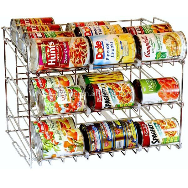 New Design Chrome Wire Stackable Can Organizer Rack