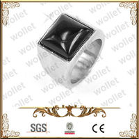 square onyx stainless steel ring with black stone
