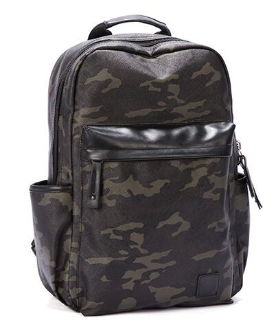 Water Resistant Multi Pocket Casual Camouflage Print College PU Backpack