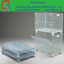 China folding mesh pallet storage cage/steel stacking pallet box