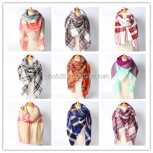 Christmas Scarf Winter Brand Neck Warmer Houndstooth Cashmere Tartan Plaid Double Side Blanket Scarf Shaw