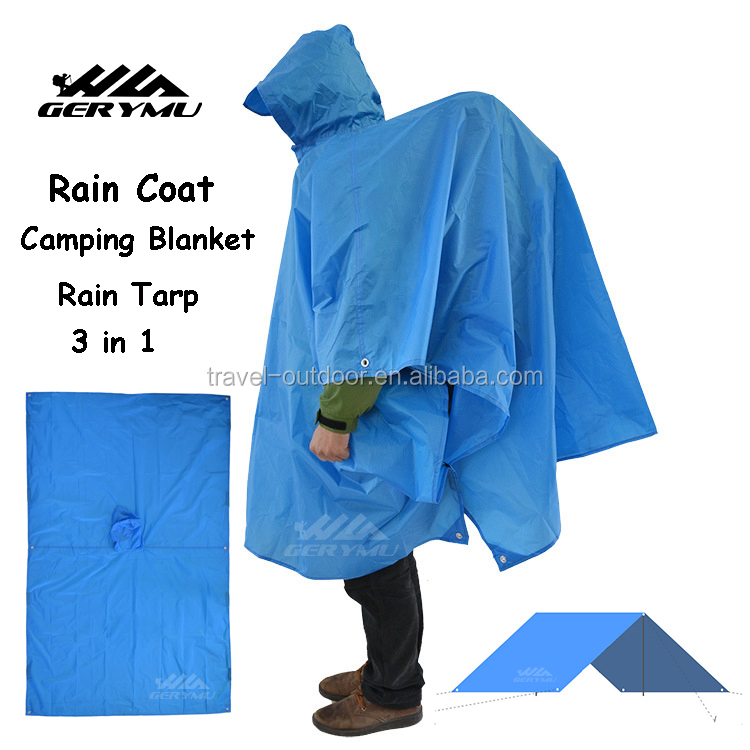 Outdoor Portable Velarium PU Waterproof Rain Coat 3 in 1 Camping Mat Ultralight Awning Tent Rain Tarp
