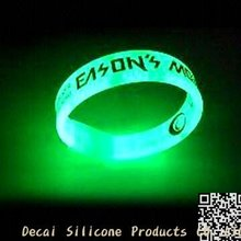 Debossed logo silicone negative anion silicone wristband glow in the dark rubber band bracelets